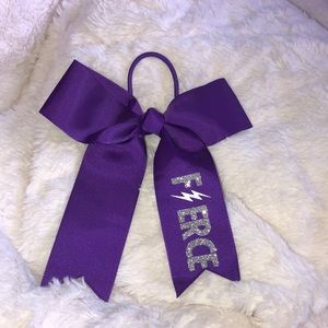 Purple With Silver Cheer Bow